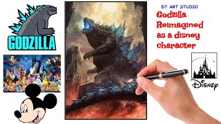 Godzilla Reimagined as a Diṡney Character | How to draw Godzilla | Godzilla in different style