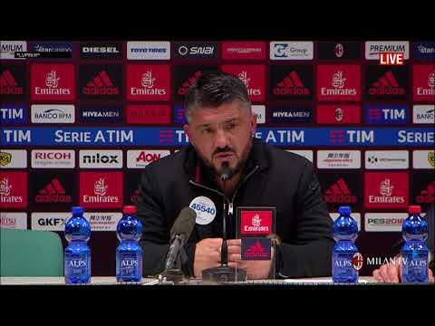 Gattuso conferenza stampa post Milan - Sampdoria 1-0 del 18 02 2018