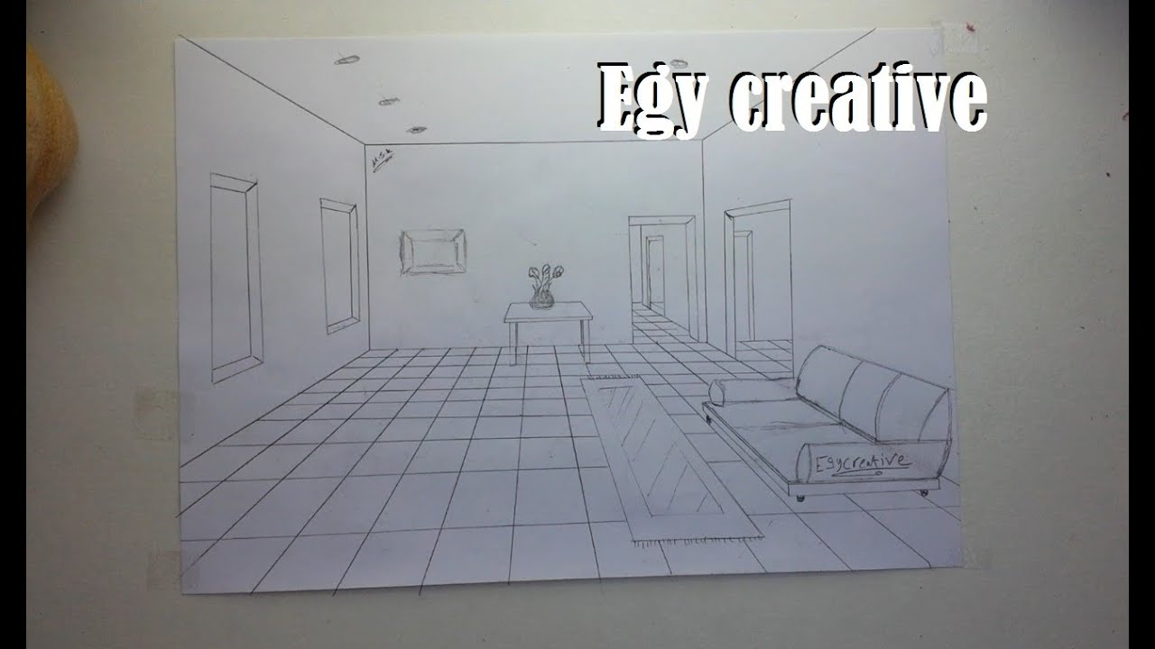 egy creative learn how to draw 3d room with one point perspective youtube. Black Bedroom Furniture Sets. Home Design Ideas