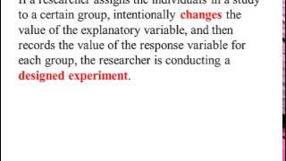 Observational Studies vs. Designed Experiments Part 1