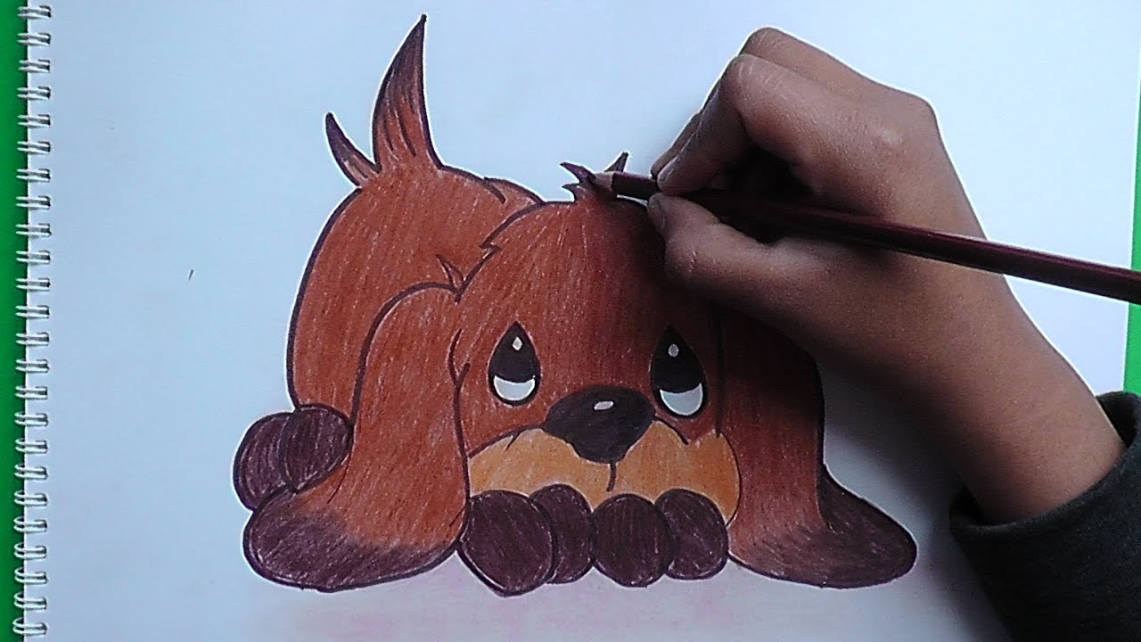 Dibujando y pintando lindo cachorro - Drawing and painting cute ...