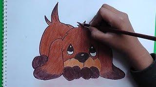 Dibujando y pintando lindo cachorro - Drawing and painting cute puppy
