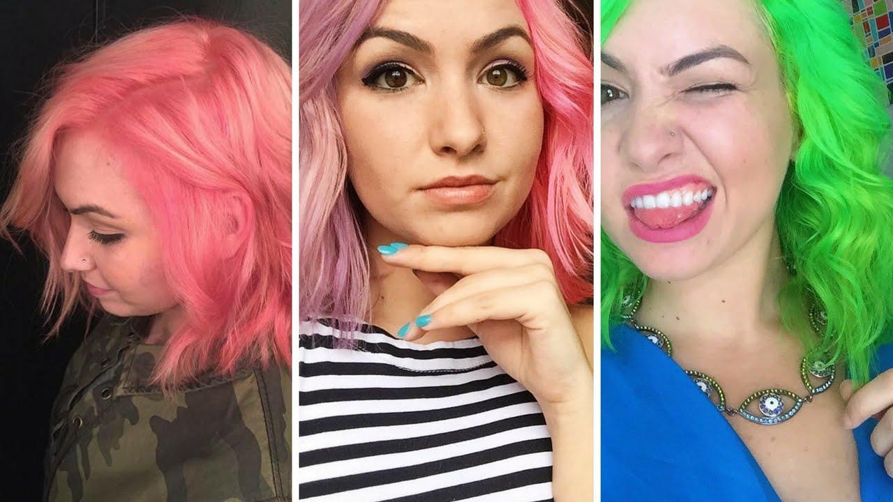 Dyeing My Hair Neon Green From Hot Pink Using Pravana S Neons