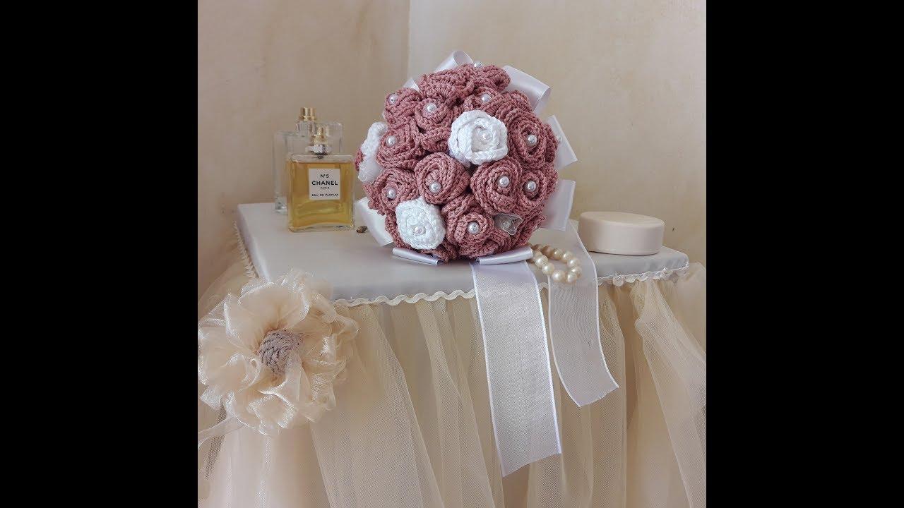 Bouquet Sposa Uncinetto.Uncinetto Bouquet Di Rose Crochet Bouquet Youtube