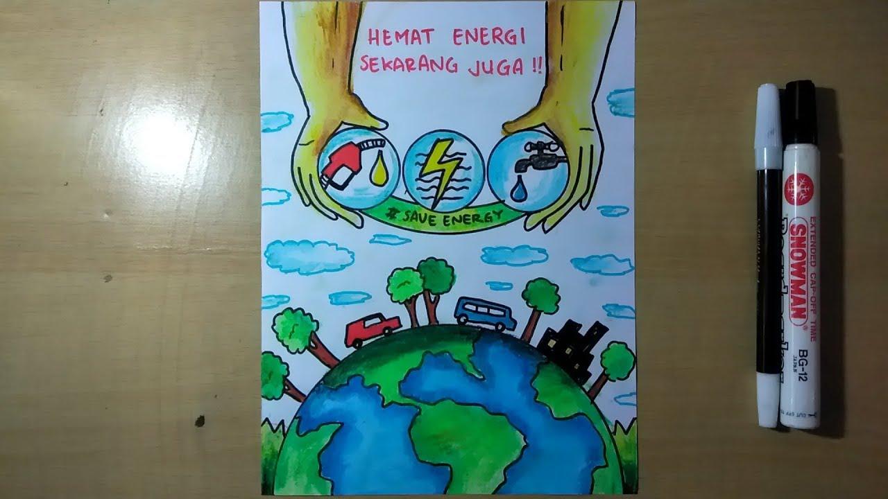 Cara Menggambar Poster Hemat Energi Dengan Mudah Youtube