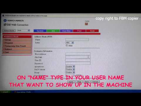 How to Setup FTP Scan on Konica Minolta C350 - 450 Using UI from