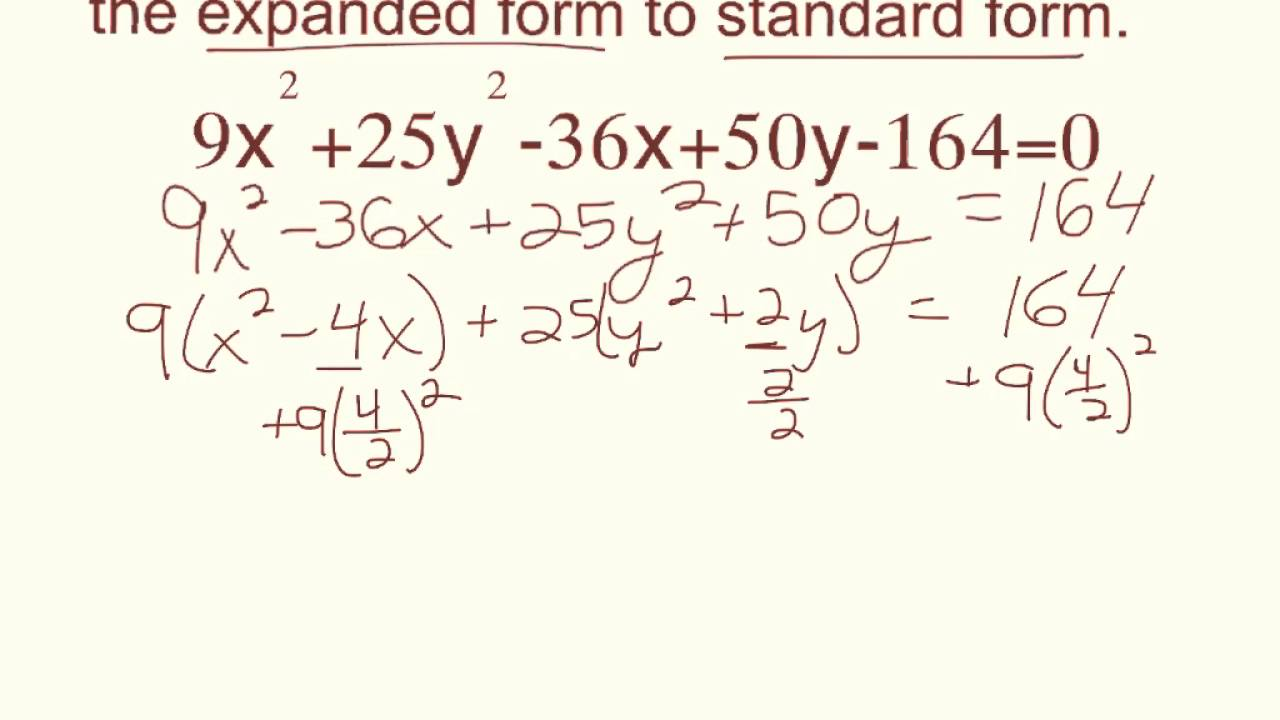 ellipse - converting to standard form using completing the square ...