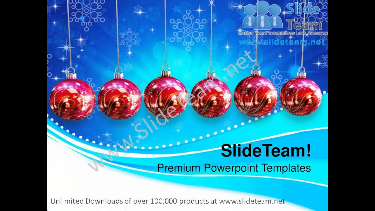 Christmas Baubles Hanging On Abstract Powerpoint Templates Ppt
