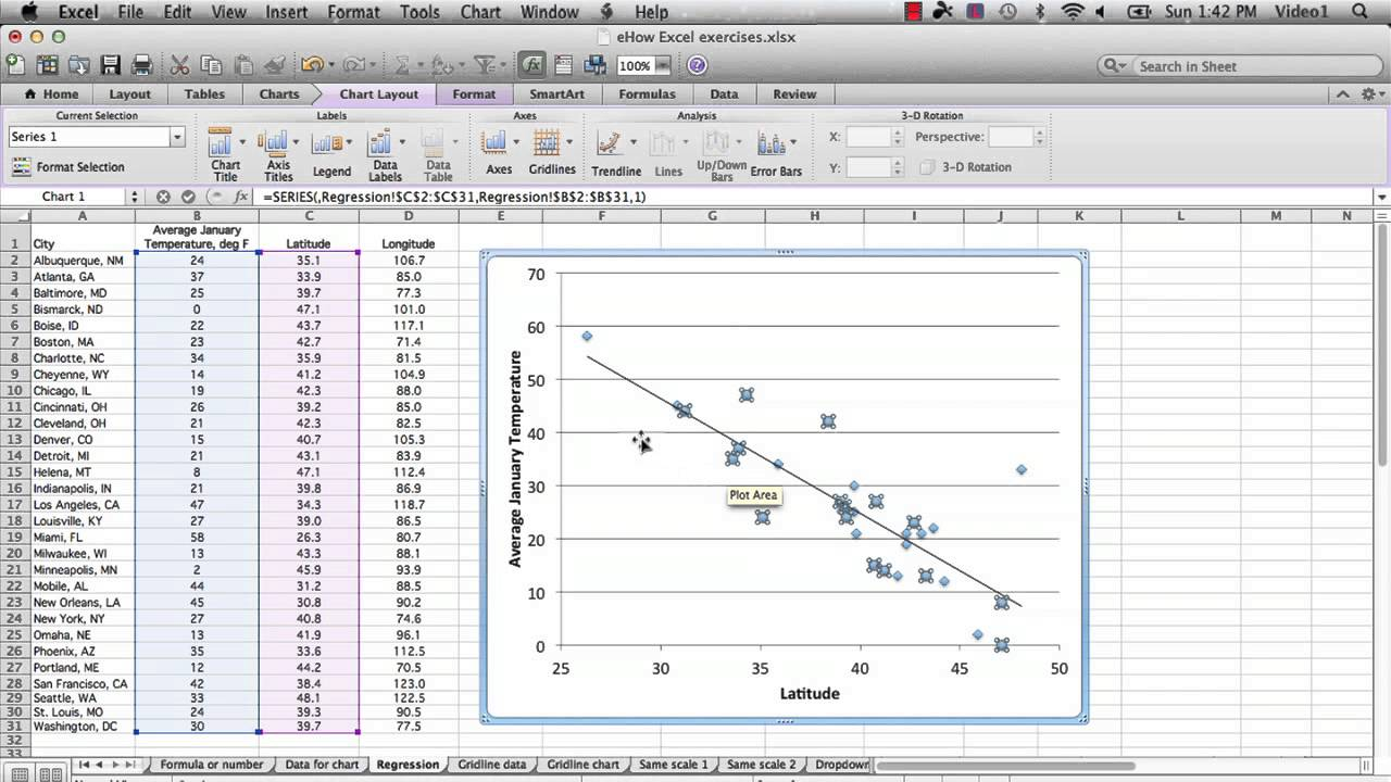slope intercept form in excel  How to Run a Regression in Excel to Find the Slope : Microsoft Excel Tips