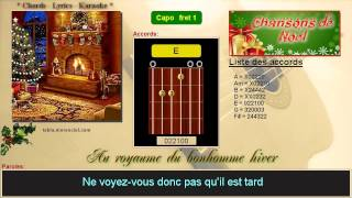 Paroles et accords - Au royaume du bonhomme hiver (Cover Karaoke, sans voix)