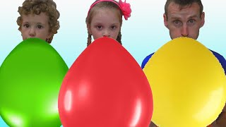 Learn colors with Balloons ! Kids and daddy have fun playtime with color song !