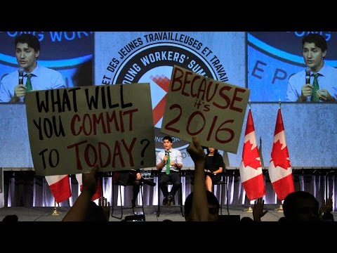 PM Trudeau greeted by heckles and jeers at youth labour forum