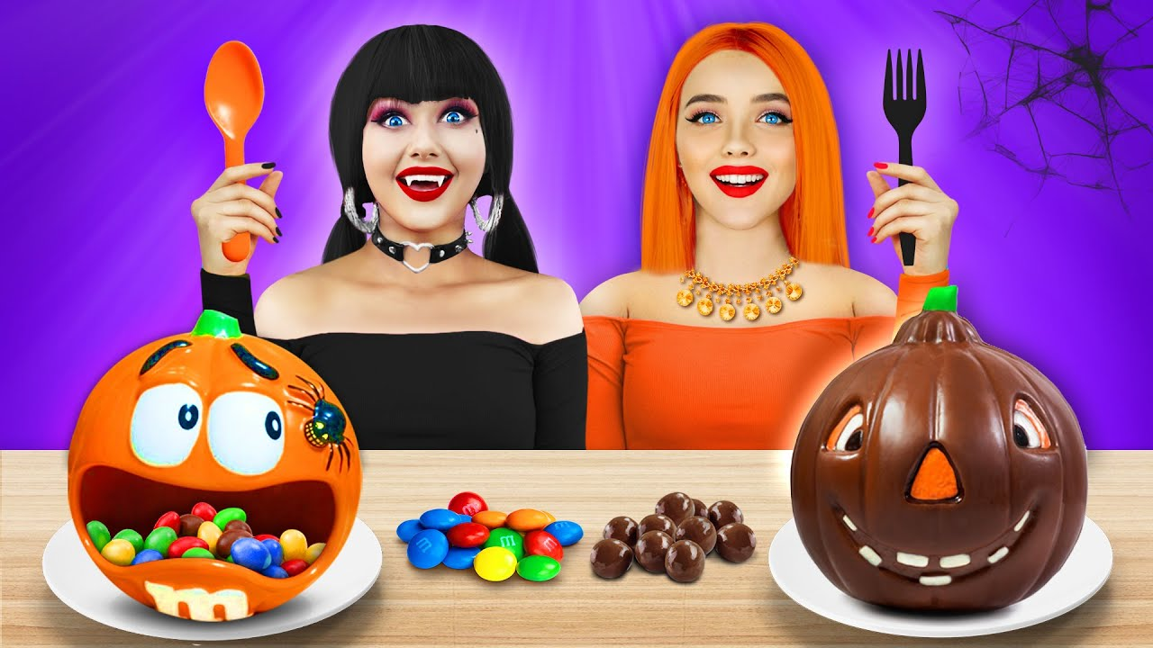 Download Halloween vs Chocolate Food Challenge! Eating Scary Halloween Yummies for 24 HRS by RATATA CHALLENGE