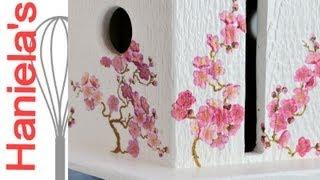 Napkin Decoupage On Textured Wood, Cherry Tree Bird House