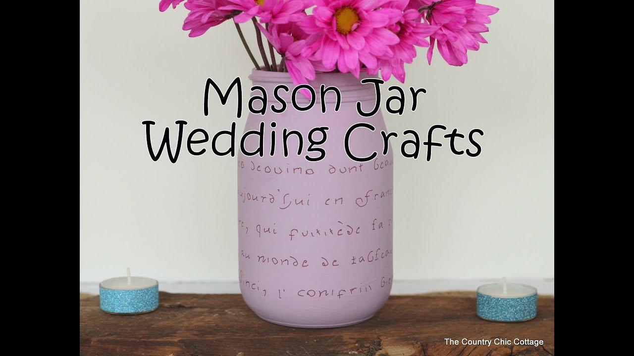 Mason Jar Wedding Crafts With Chalky Finish Paint