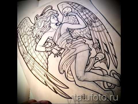Эскизы тату ангел   фото на видео