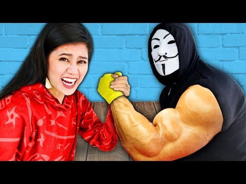 CAN YOU BEAT THIS GIRL at ARM WRESTLING? Surprising my Friends SPY NINJAS vs Giant Hacker Challenge