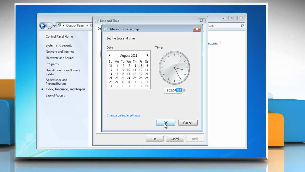 How to change date, time and time zone settings in Windows® 7