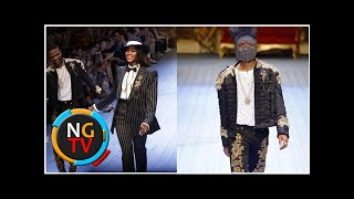 Starboy the model! Wizkid pictured on the runway with supermodel Naomi Campbell