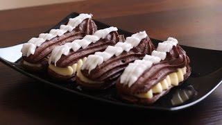Шоколадные эклеры рецепт в домашних условиях(Данный видео рецепт показывает как приготовить Шоколадные эклеры в домашних условиях. Рецепт шоколадных..., 2016-01-07T07:27:25.000Z)