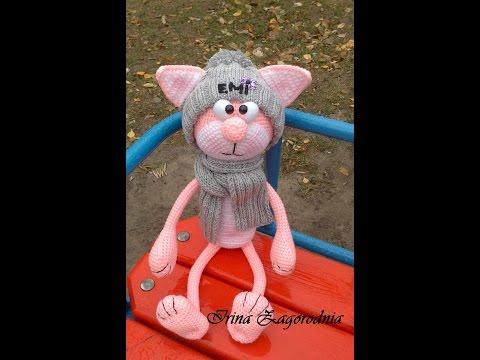 Амигуруми крючком розовый кот амигуруми