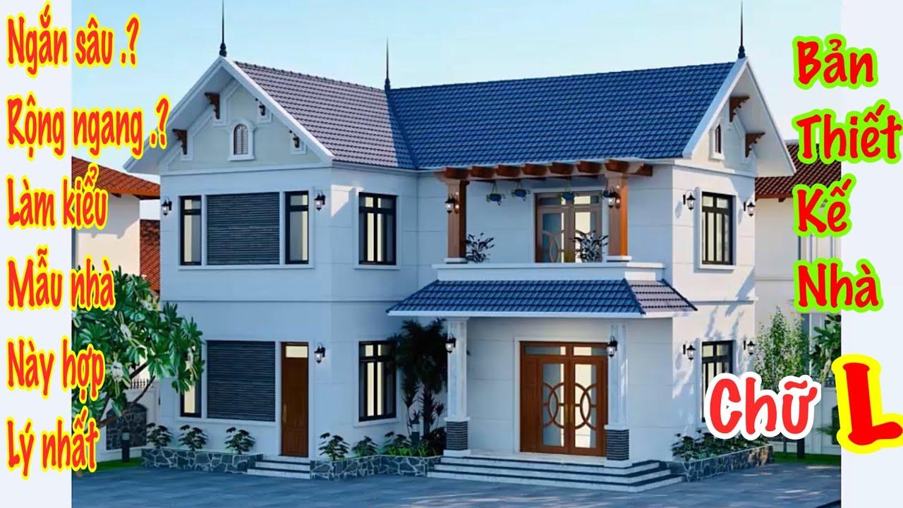 French architectural design with 2 floors. Mẫu nhà 2 tầng chữ L mái thái