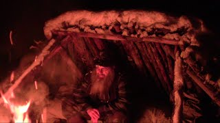 Staying Warm over night In A Bushcrafted Shelter