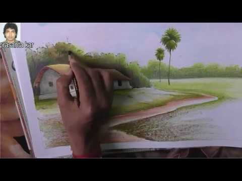 landscape drawing ideas |oil pastels |oil pastel painting | nature drawing images  | online classes