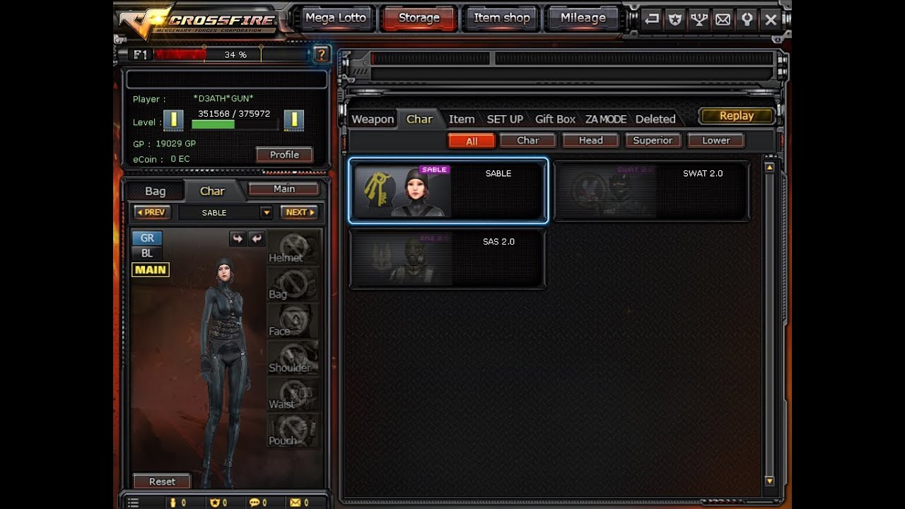 SOLD Crossfire Account 1 Bar Gold with Ecoin Char Sable P100 by Ben Junior  CF