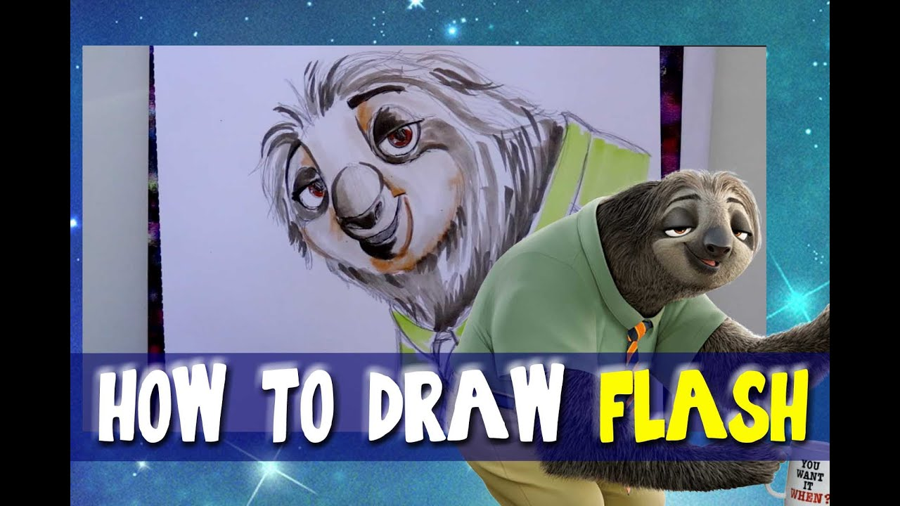 How To Draw Flash From Disney S Zootopia Dramaticparrot Youtube