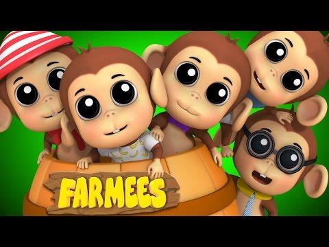 Five Little Monkeys | Nursery Rhymes Farmees | Baby Rhymes | Childrens Songs