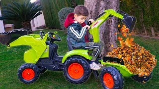 Tema ride on toys Tractor Excavator and play with toys