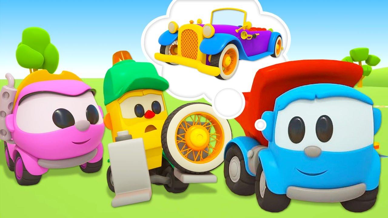 Leo e Leia estão construindo um carro antigo! Léo o caminhão! Desenho animado para crianças