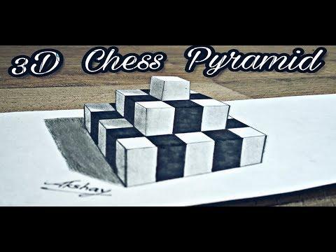 How To Draw 3D Chess Pyramid - 3D Trick Art On Paper - Art Maker Akshay