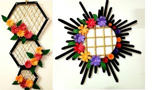 2 popsicle stick wall hangings / ice cream stick crafts / best out of waste