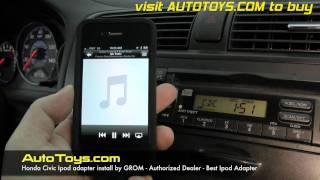 Honda Civic IPOD, Aux with Grom adapter, Model IPD3, Pandora and more, Radio Removal by Autotoys.Com