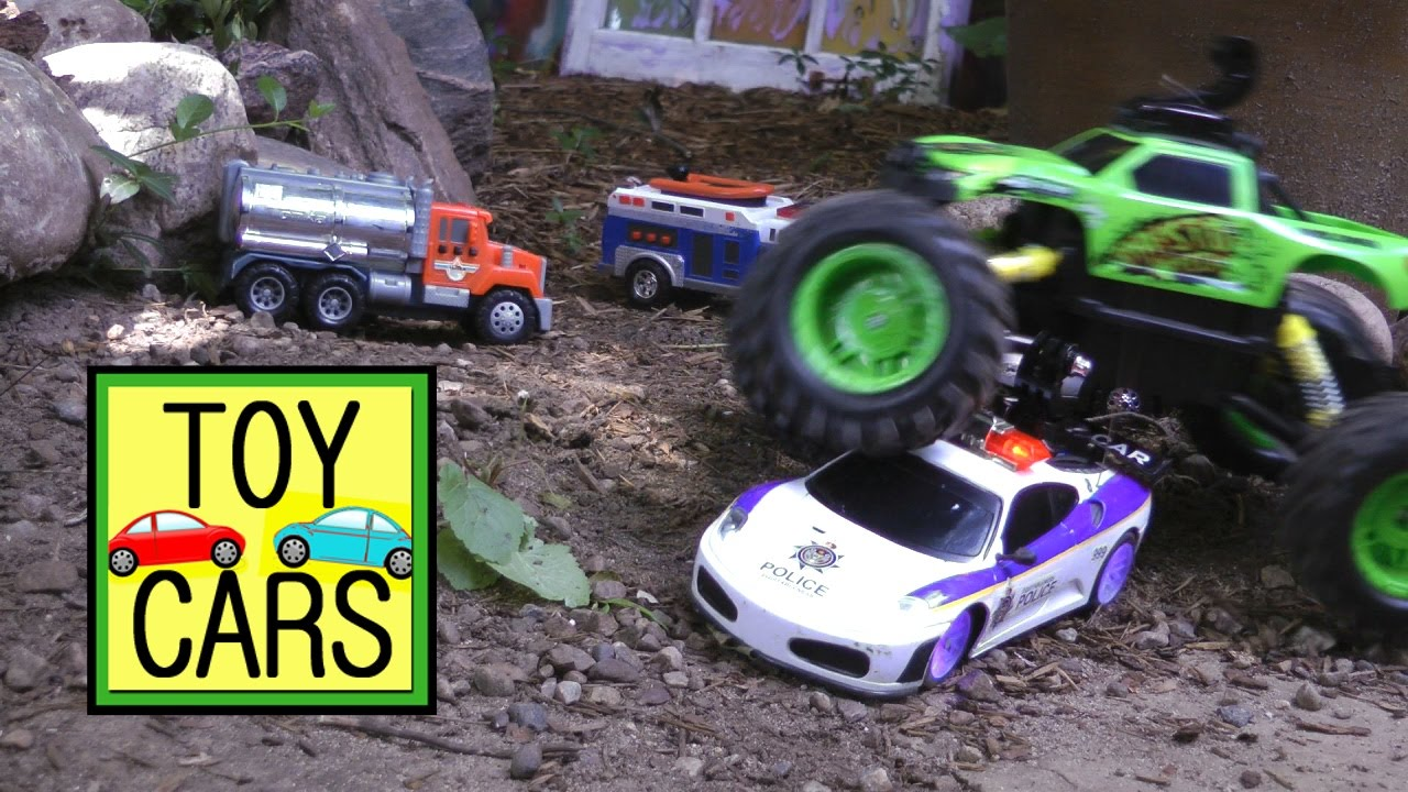 Rc Police Chase Monster Truck Action Toy Cars Crash And Rescue
