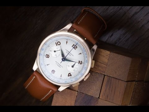 Chronographe Suisse 18K solid gold Landeron mechanical wristwatch