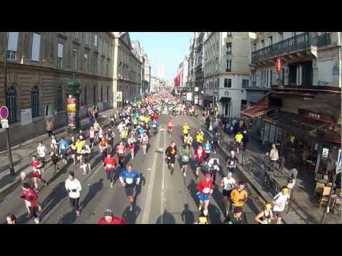 Paris Marathon April 7 - 2013 - Wide View of Marathon on rue de Rivoli