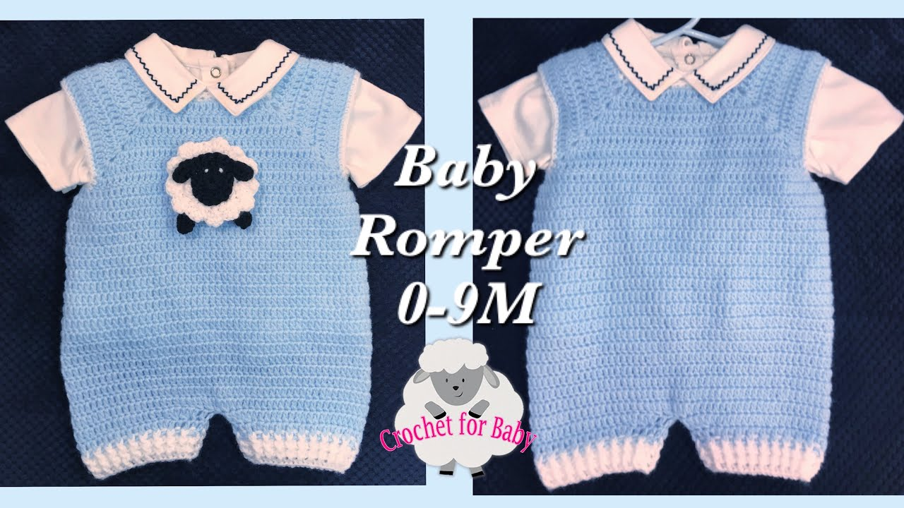Crochet Baby Rompers With Lamb Applique Boy Or Girl Crochet Dungarees 0 9m Easy Crochet For Baby Youtube