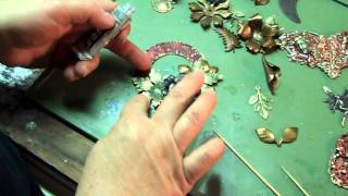 Assembling and Costing Out Jewelry, Basic Glue Tricks, Collage with Flower Stampings