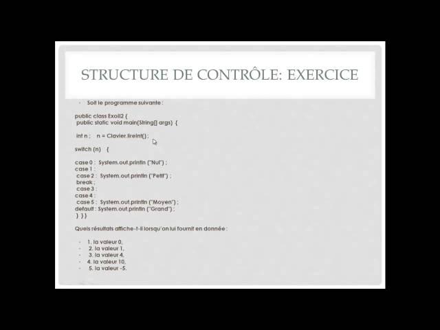 Exercice N° 6 : Structure de contrôle Switch