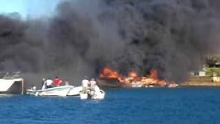Pittwater boats on fire