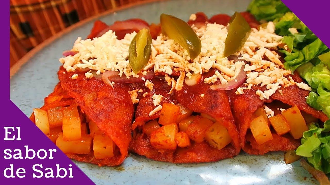 Enchiladas Rojas con Papa/Paso a Paso/El sabor de Sabi ...