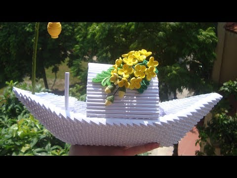3D Origami Flower Boat Tutorial | DIY Paper Flower Boat Home Decor