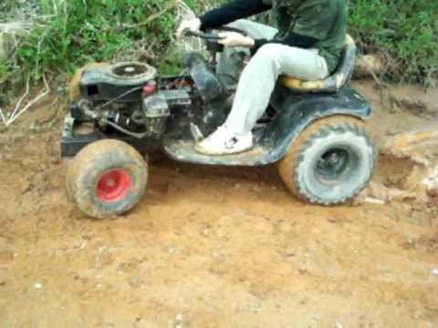 Racing Lawn Mower Engine >> my brothers racing mower with new tires - mini mud hole - YouTube