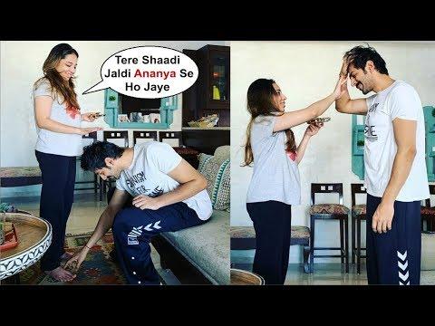 Kartik Aryaan  Touching His Sister Feet On Bhai Dooj Mp3