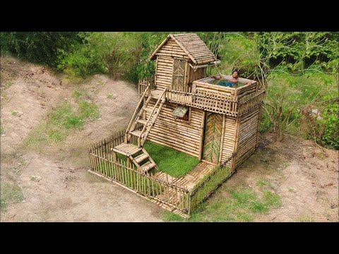 Building Most Beautiful House Villa In the Deep Forest​​ ( Bamboo 100%)