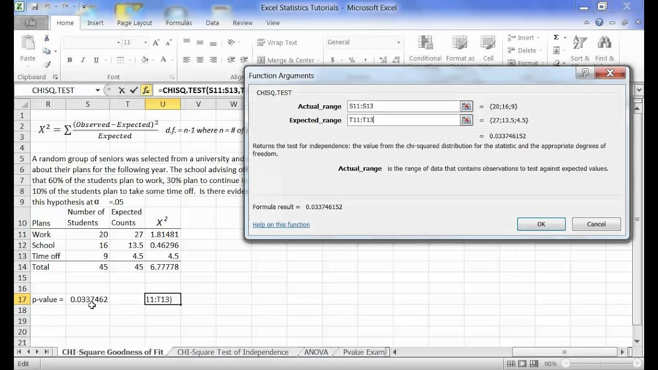 Chi Squared Goodness Of Fit Test In Excel 2010 Youtube