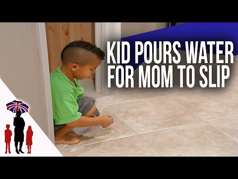 Mom Slips & Falls After Out Of Control Kid Pours Water On Floor | Supernanny